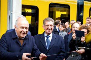 Taglio del nastro con l'assessore Giannini e il direttore generale Ferrotramviaria,Massimo Nitti