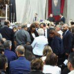 Laura Boldrini commossa durante l'incontro con i familiari delle vittime