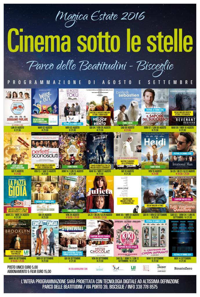 Locandina Cinema Sotto Le Stelle Agosto Settembre