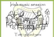 "La locandina dell'evento ""Irish music session"" del Joy's pub"