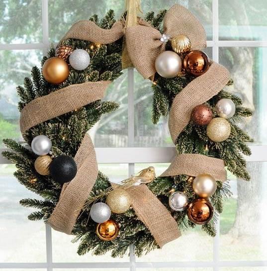 Natale Moderno Ghirlanda Bronzo Bianca E Nera
