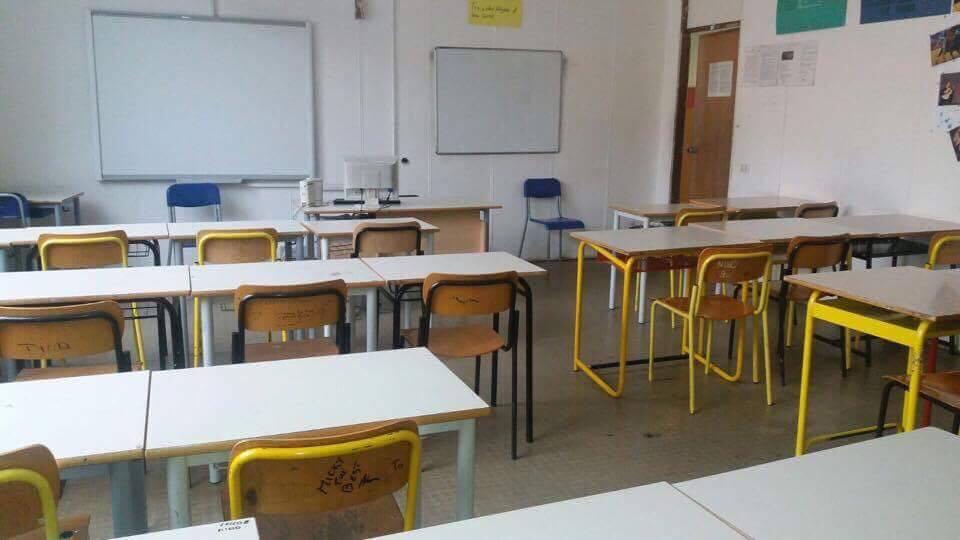 Una delle aule vuote oggi al Romanazzi