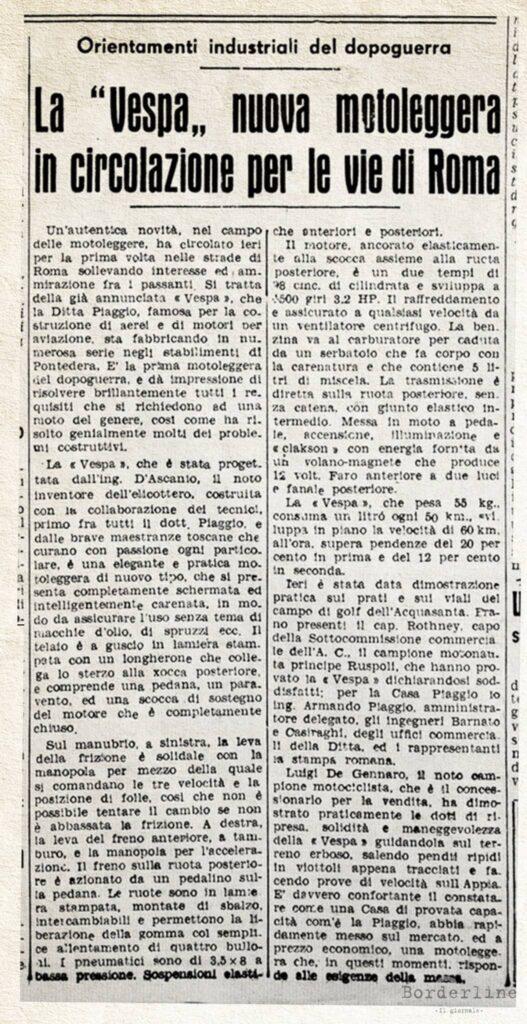 Articolo Vespa 29 marzo 1946