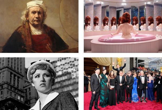 """Dal sito della Saachy Gallery. In senso orario: Rembrandt, """"Autoritratto"""", Juno Calypso """"The Honeymoon Suite"""", Benedict Cumberbatch salta dietro gli U2 durante la cerimonia degli Oscar, Cindy Sherman Untitled Film Still #21"""
