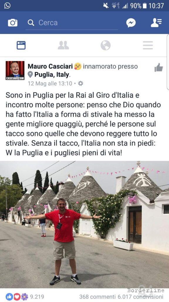 Il post pubblicato su Facebook da Mauro Casciari