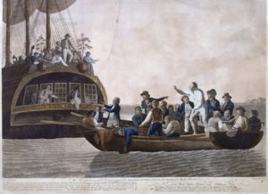 The Mutineers turning Lt Bligh and part of the Officers and Crew adrift from His Majesty's Ship the Bounty, 29th April 1789. Acquatinta di Robert Dodds
