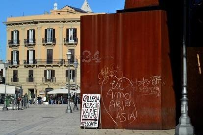 I vandali imbrattano La Carbonaia di Kounellis - foto di repertorio dal Corriere del Mezzogiorno del 19/12/2014
