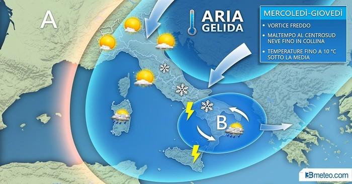 Vortice freddo, maltempo verso il Centrosud con neve a bassa quota
